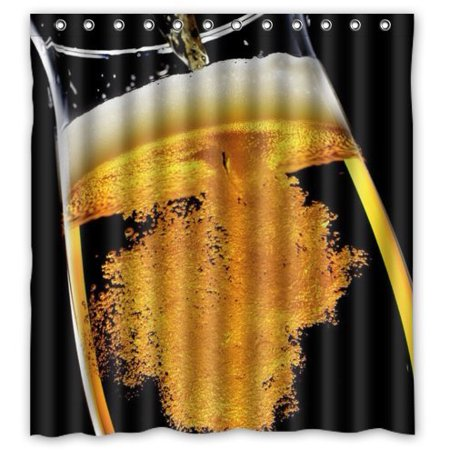 Ganma Beer Shower Curtain Polyester Fabric Bathroom 66x72 Inches