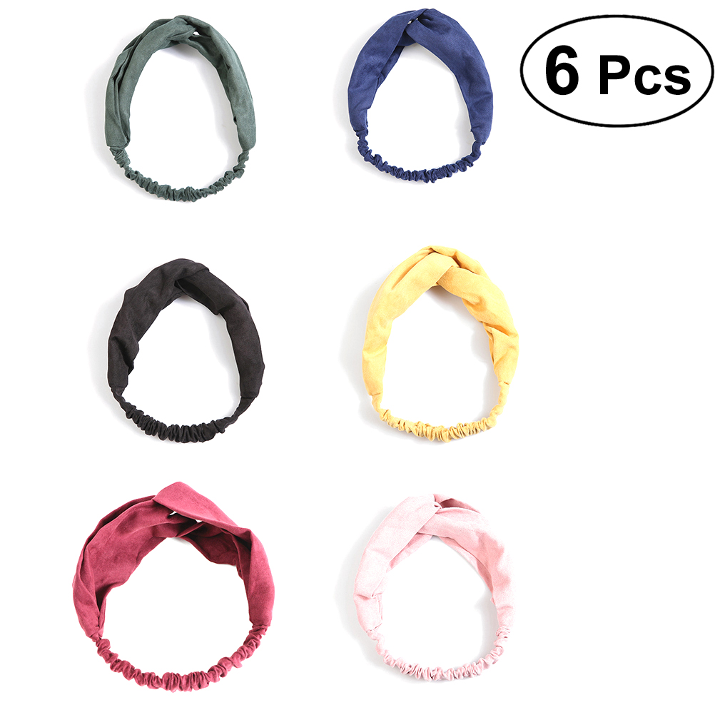 6pcs Women Headbands Head Wrap Cross Hair Band Elastic Stretchy for Workout Fitness Yoga Dancer Party Prom