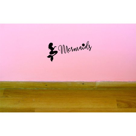 Custom Decals Mermaids Wall Art Size 16 X 40 Inches Color Black