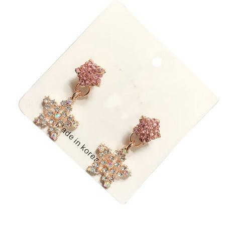Ustyle 1 Pair Crystal Heart Star Drop Earrings Women Girls Lady 925 Silver Pin Drop Dangle Earrings - image 9 de 9