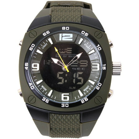- Olive Drab - X-Large Military Style Analog & Digital Display Watch