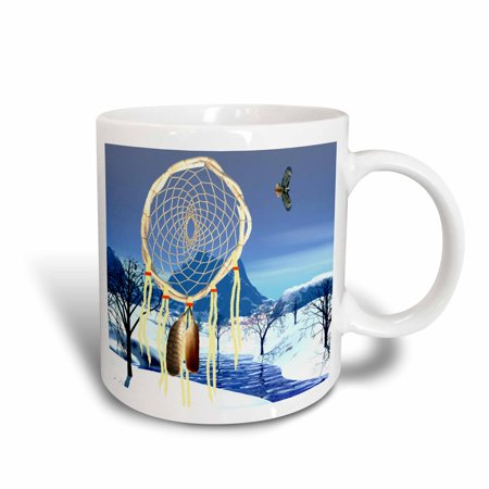 3dRose Dreamcatcher wih Hawk, Ceramic Mug, 15-ounce