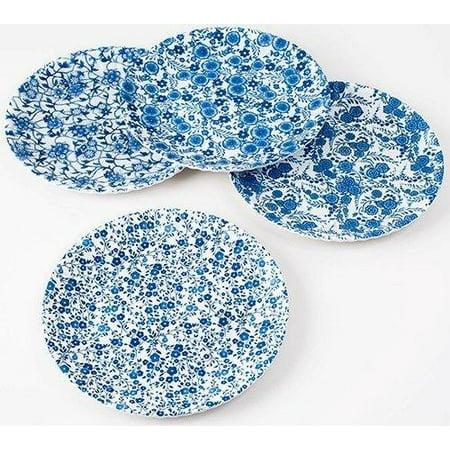 Blue & White Floral Pattern Picnic / Dinner Plate 9 Inch Melamine Set of 4 ()