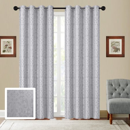 Fancy Linen Embroidery 2 Panel Curtain Set With Grommet Modern Geometric Jacquard Gray Off White New