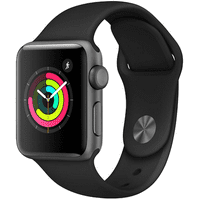 Apple Watch Series 2 - 38 mm - space gray aluminum - smart watch with sport band - fluoroelastomer - black - S/M/L size - Wi-Fi, Bluetooth - 0.99 oz