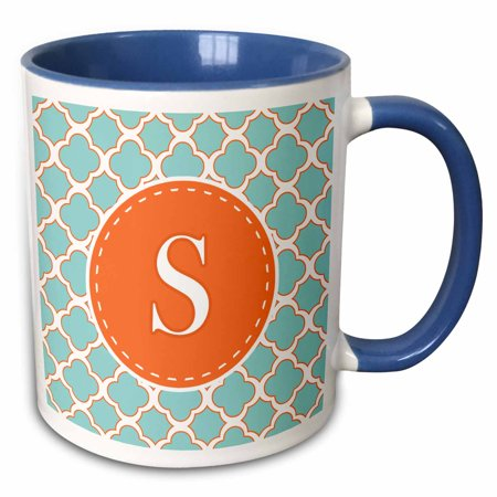 3dRose Letter S Monogram Orange and Blue Quatrefoil Pattern - Two Tone Blue Mug, 11-ounce