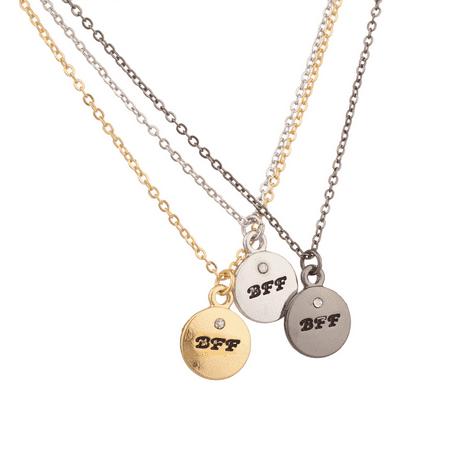 Lux Accessories Multi Color BFF Best Friends Forever Delicate Stone Pendant Necklace Set (3
