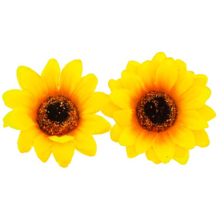 Lux Accessories Coachella Sunflower Fabric Flower Hair Clip Set