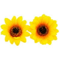 Lux Accessories Coachella Sunflower Fabric Flower Hair Clip Set