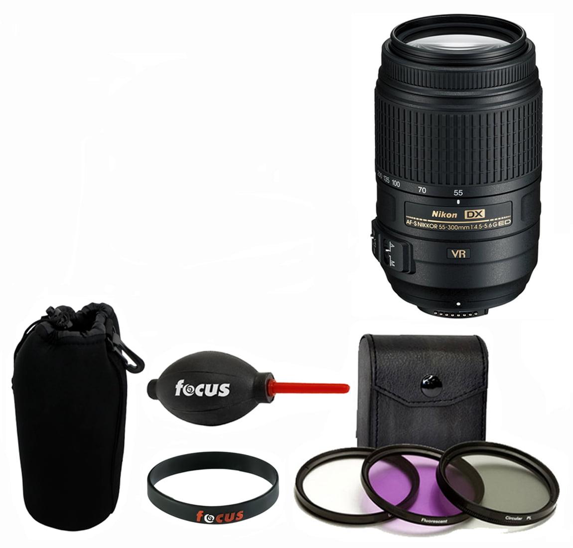 Nikon 55-300MM F/4.5-5.6G ED VR AF-S DX Nikkor Zoom Lens + Deluxe Kit