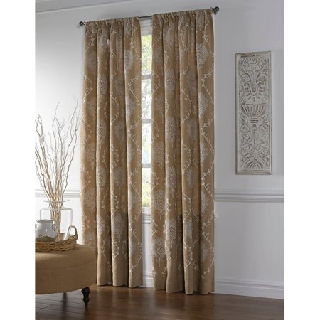 Embroidered Jute (Cloud9 Design Jute Curtain Panel with Medallion Embroidery )