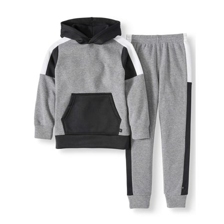 Cheetah Hooded Sweatshirt and Contrast Fleece Jogger Pants 2-Piece Set (Little Boys & Big Boys) Boys Jogging Set
