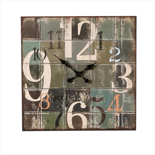 "19.75"" Distressed Finish Contemporary Style Wall Clock with Large Numerals"