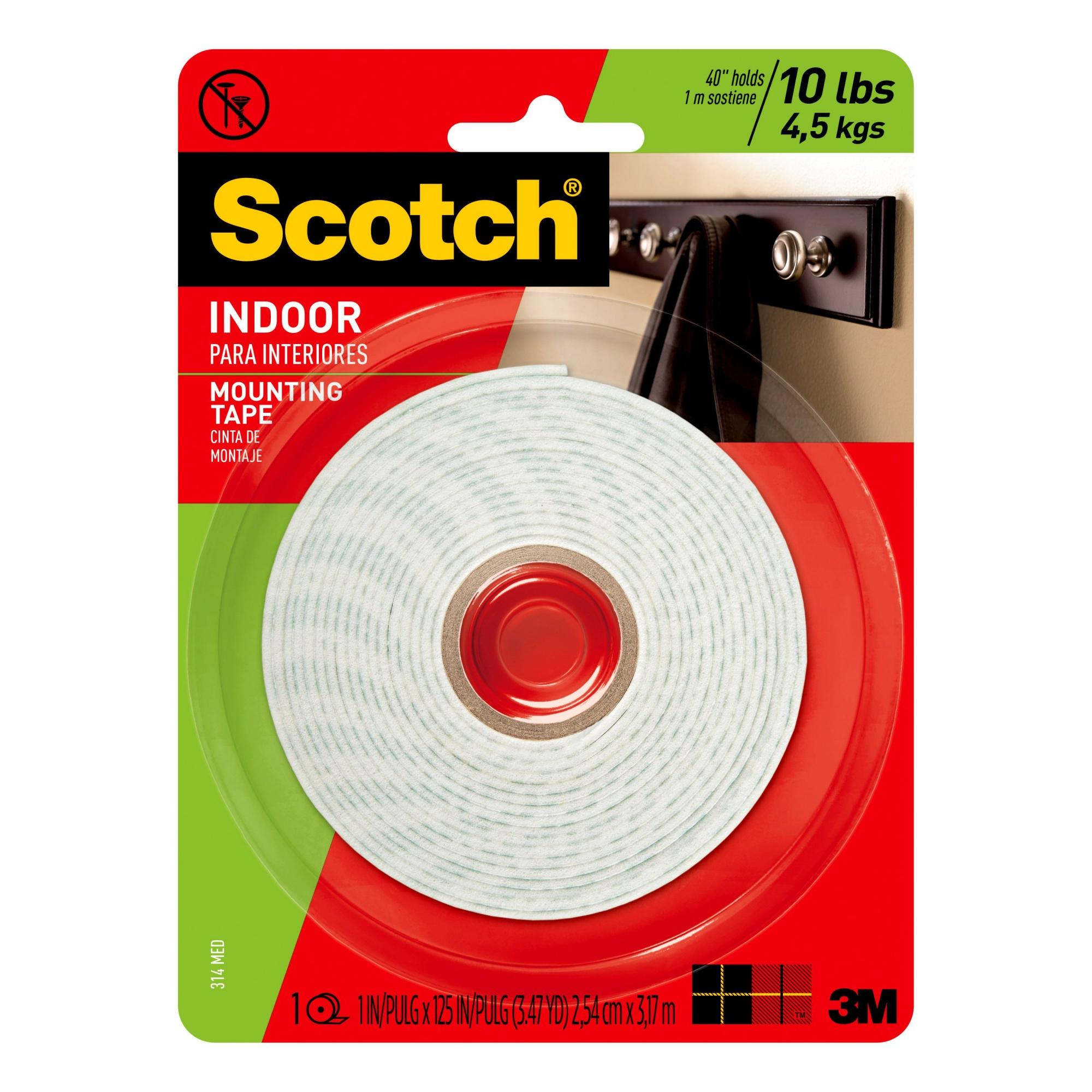 Scotch Indoor Mounting Tape, 1 in. X 125 in., 1 Roll/Pack