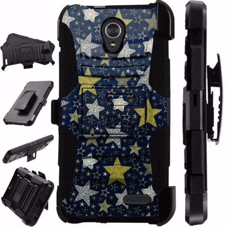 For ZTE Prestige 2 Case / ZTE ZFive 2 Case Heavy Duty Phone Case Hybrid Armor Cover Kick Stand Rugged LuxGuard Holster (Night Stars)