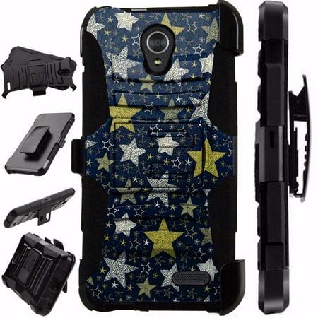 For ZTE Prestige 2 Case / ZTE ZFive 2 Case Heavy Duty Phone Case Hybrid Armor Cover Kick Stand Rugged LuxGuard Holster (Night Stars) - Night Armor