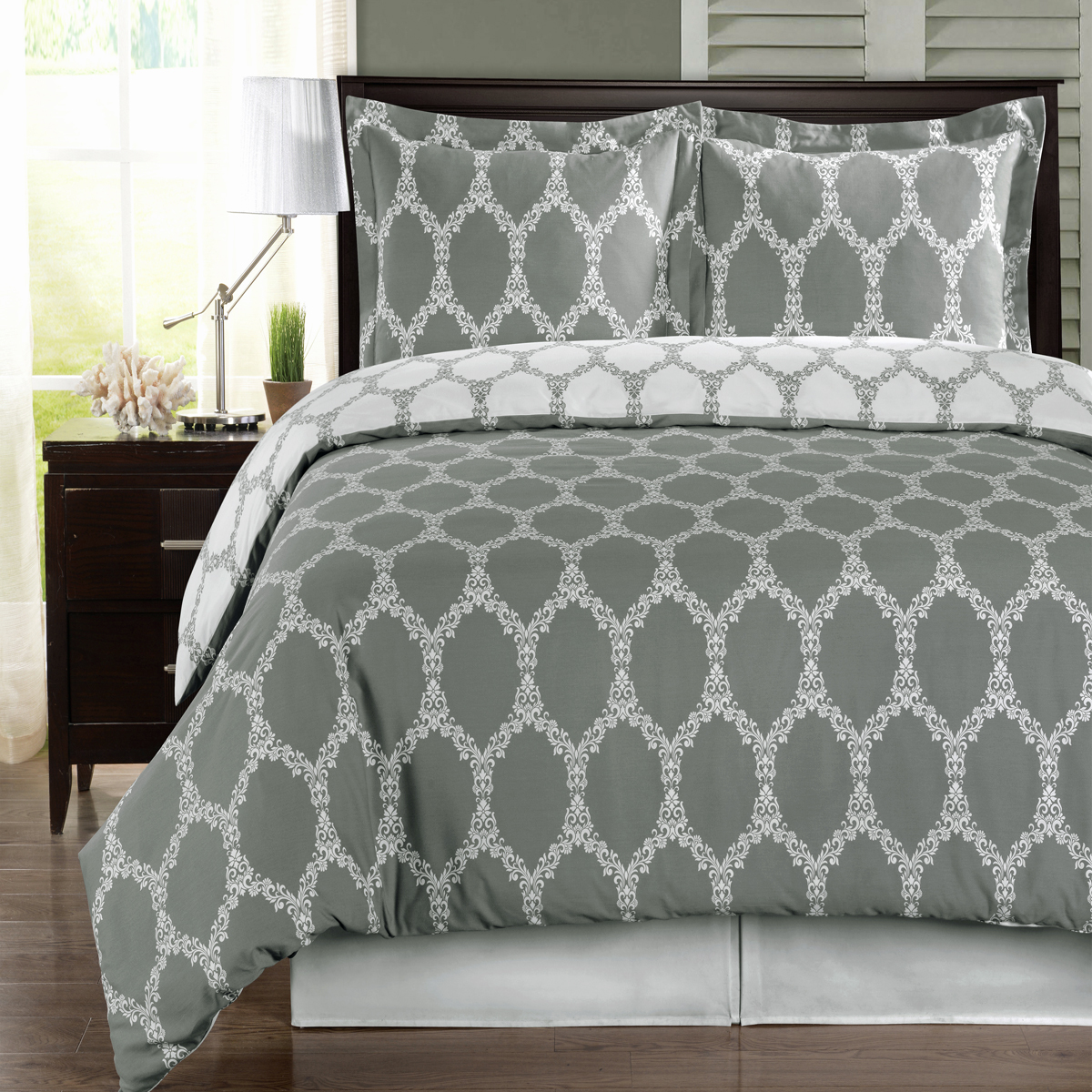 Brooksfield 100% Extra Soft Cotton Reversible Duvet Cover Set Twin Full Queen King Sizes