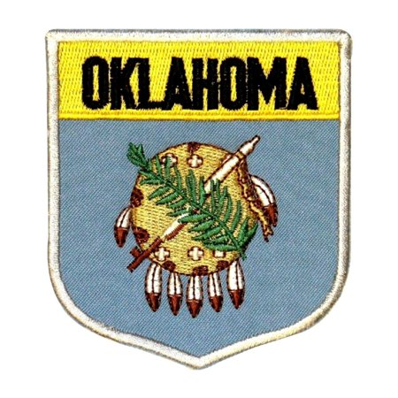 State Flag Shield Oklahoma Patch Badge Travel USA Embroidered Iron On Applique ()