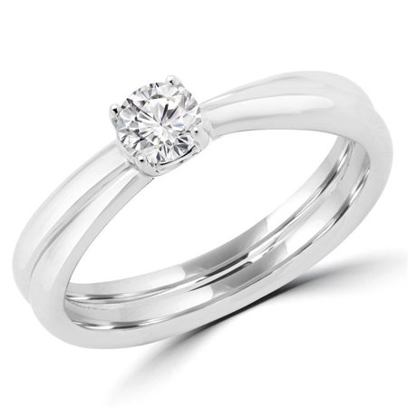 5e54419b6f1047 Majesty Diamonds MDR170048-6.5 0.25 CT Round Diamond Promise Solitaire  Engagement Ring in 14K White ...