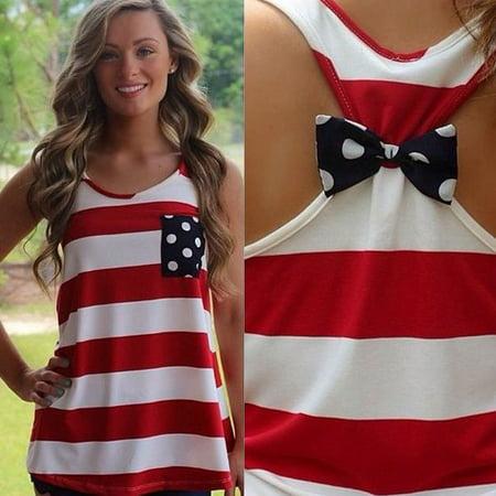Sexy Women Backless Sleeveless Bow Stripe Dot Vest Shirt Tank Tops S