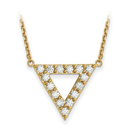 Diamond Triangle Necklace - 14k A Quality Diamond 20mm Triangle Necklace