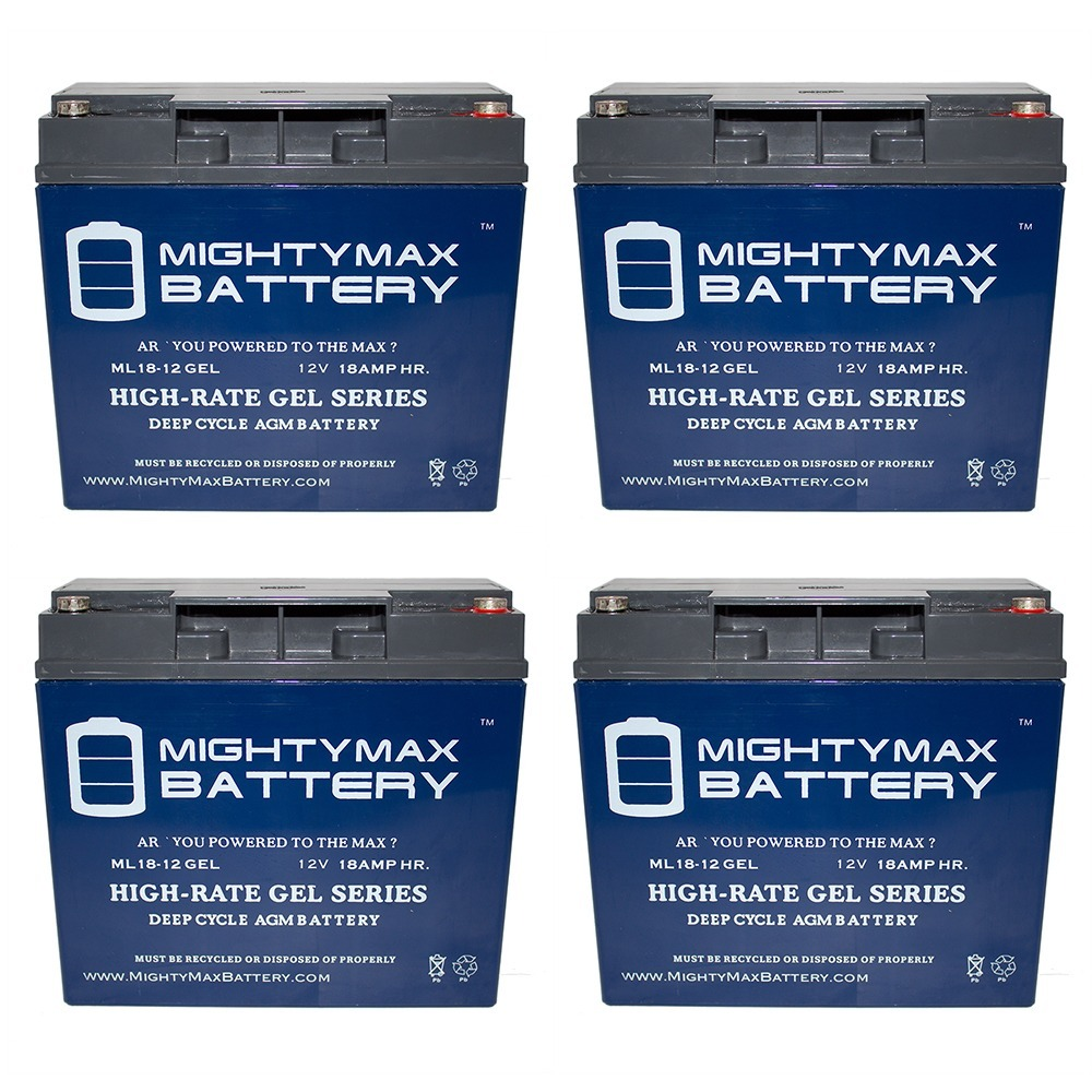 12V 18AH GEL Battery for Pukka Pocket Mini Bike - 4 Pack