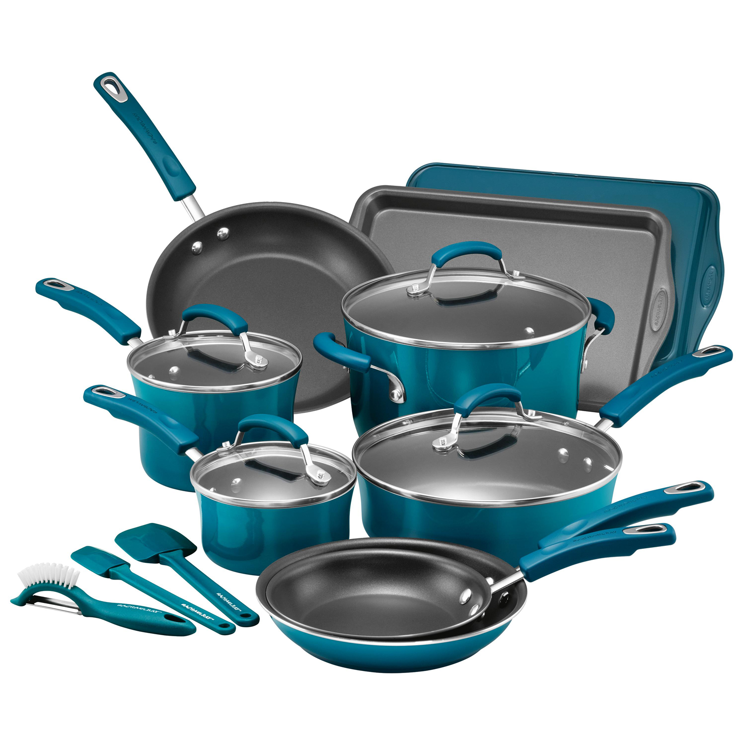 Rachael Ray 16-Piece Hard Enamel Nonstick Cookware Set, Marine Blue