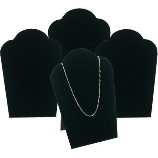 Velvet Necklace Display - 4 Black Velvet Necklace Pendant Jewelry Bust Display Easel 3 3/4