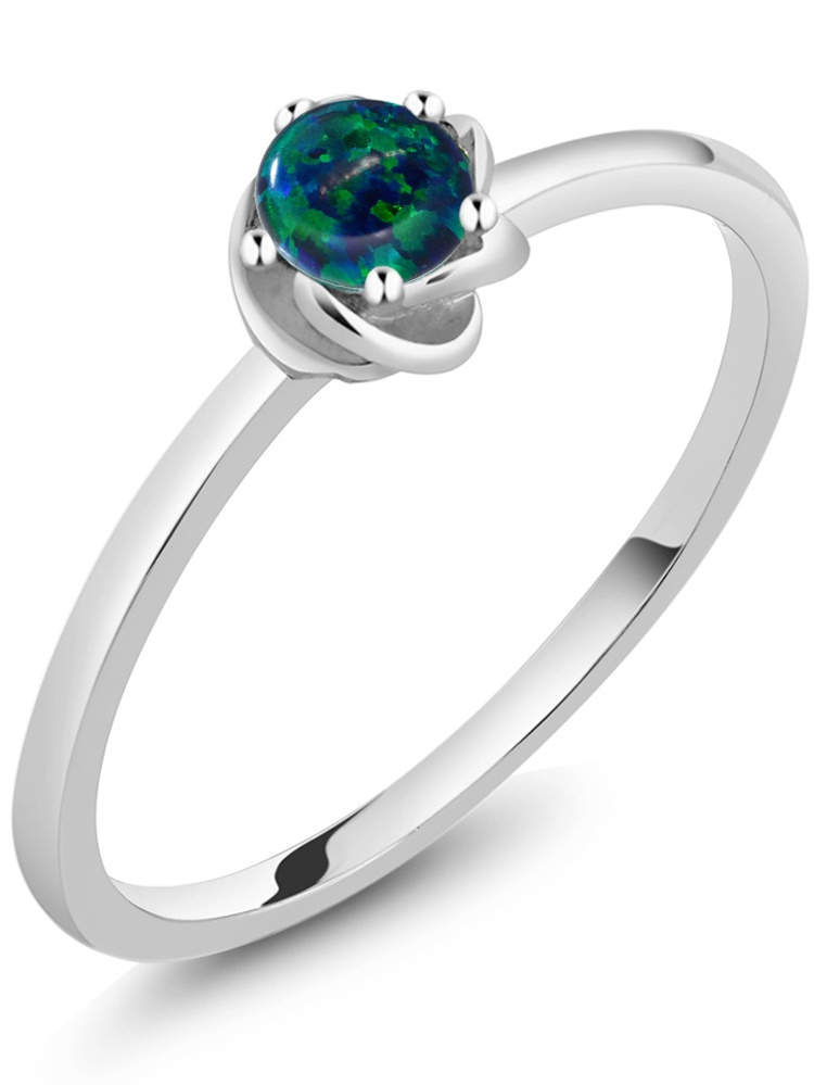 10K White Gold Solitaire Ring 0.25 Ct Round Cabochon Green Simulated Opal by