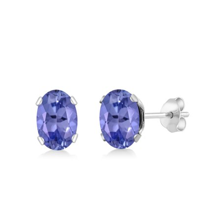 1.30 Ct Oval Tanzanite 925 Sterling Silver Stud Earrings 6.5X4.5mm