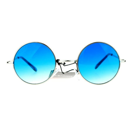 Round Hippie Sunglasses (SA106 Dope Color Groovy Hippie Wire Rim Round Circle Lens Sunglasses Gradient)