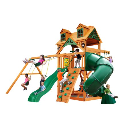Gorilla Playsets Mountaineer Wooden Swing Set with Malibu Wood Roof, 2 Solar Wall Lights, and Tube Slide