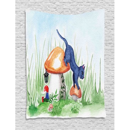 Animal Decor Tapestry, Little Cartoon Cat Black in a Mushroom Garden with Leaves and Flowers Art, Wall Hanging for Bedroom Living Room Dorm Decor, 40W X 60L Inches, Multicolor, by Ambesonne ()