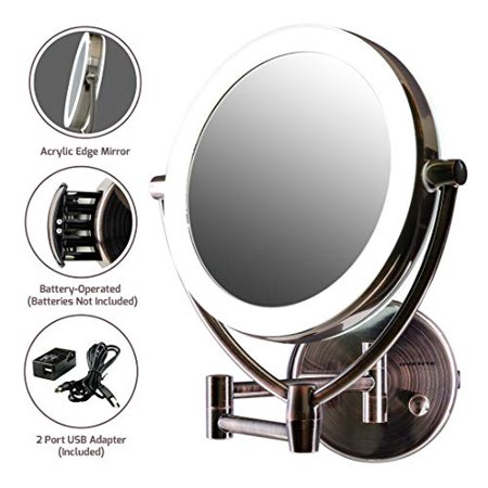 Ovente LED Lighted Wall Mount Makeup Mirror, 7.5 Inch, Battery or USB Adapter Operated, 1x/10x Magnification, Antique Brass (MLW75AB)