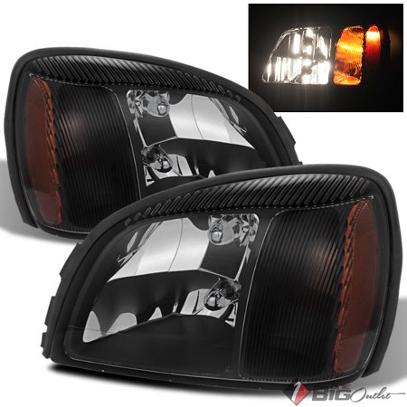 For 2000-2005 Deville Black Headlights Front Lamps LH+RH Light Bulbs Included Pair Left+Right 2001 2002 2003 2004
