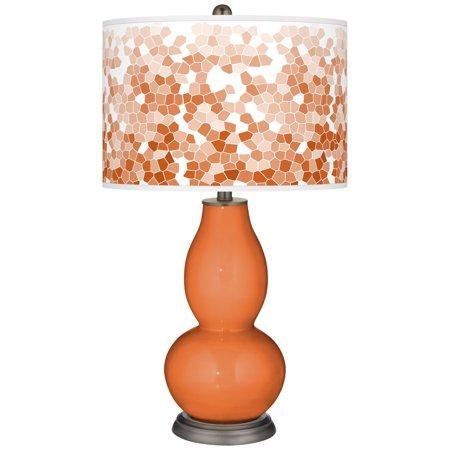 Color + Plus Celosia Orange Mosaic Giclee Double Gourd Table Lamp
