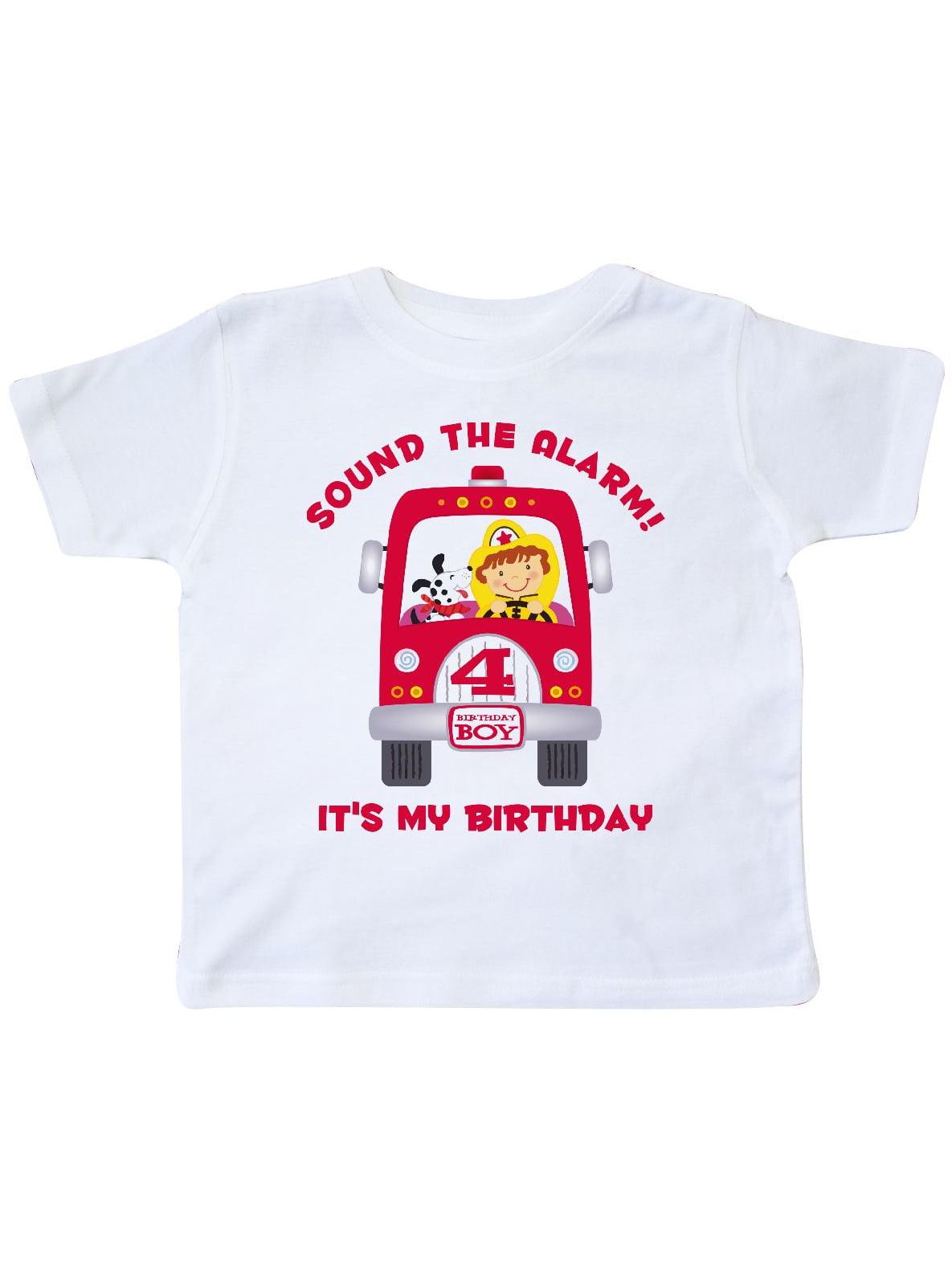 Fire Truck 4th Birthday Boy Toddler T-Shirt