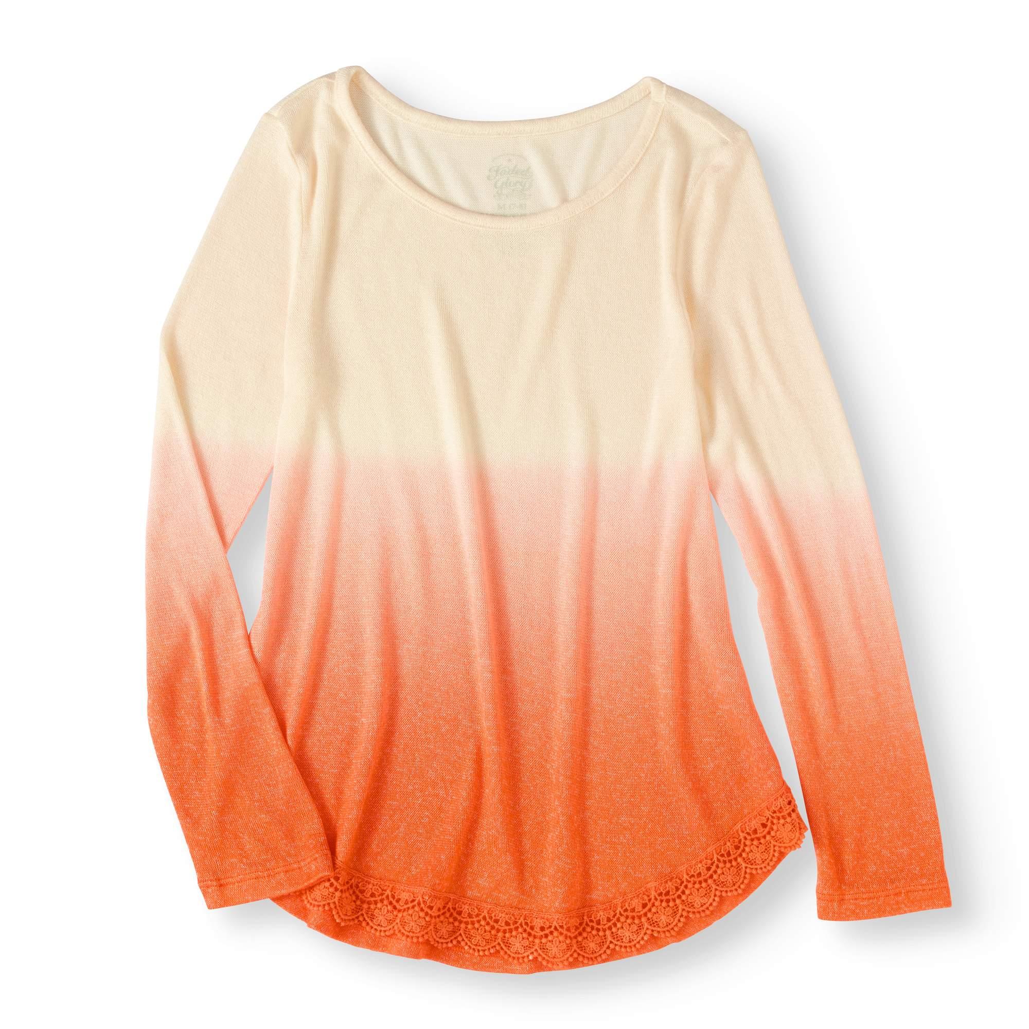 Girls' Long Sleeve Dip Dye Hacci Top