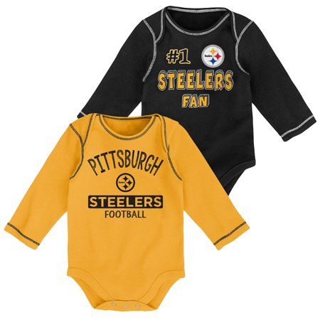 Newborn & Infant Black/Gold Pittsburgh Steelers 2-Pack Long Sleeve Bodysuits