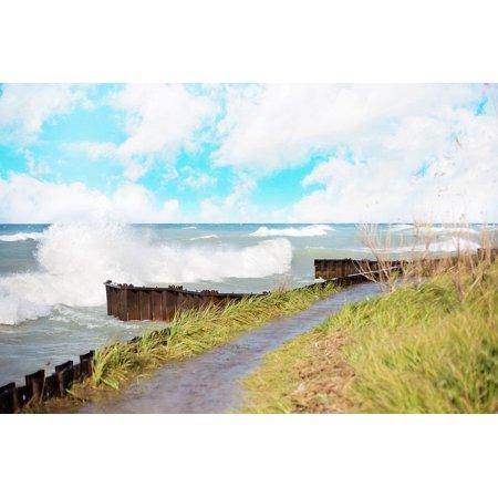Canvas Print Shore Waves Crashing Lake Lake Michigan Michigan Stretched Canvas 32 x 24 - Lake Michigan Waves Halloween