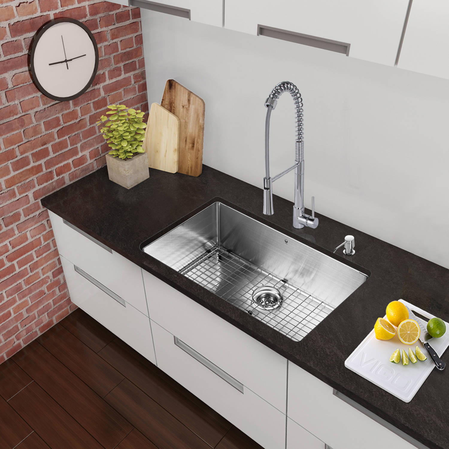 "Vigo All-in-One 30"" Stainless-Steel Undermount Kitchen Sink and Laurelton Chrome Faucet Set"