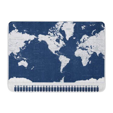 Map Of Sea Floor - SIDONKU Sea America Centered World Map and Navigation Pointers Highly Detailed of Ocean Doormat Floor Rug Bath Mat 23.6x15.7 inch