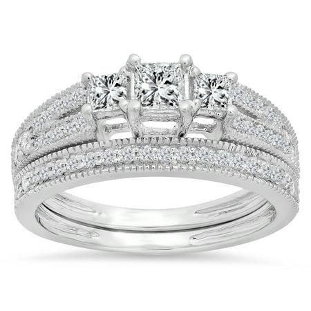 Dazzlingrock Collection 1.00 Carat (ctw) 14K Princess & Round Cut 3 Stone Diamond Engagement Ring Set 1 CT, White Gold, Size 8