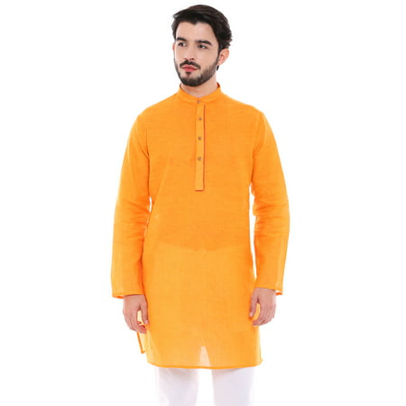 In-Sattva Men's Indian Classic Light Mustard Kurta Tunic with Banded