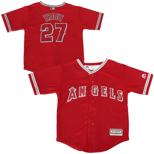 Mike Trout Los Angeles Angels Majestic Toddler Official Cool Base Player Jersey - Red