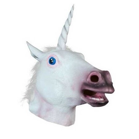 Halloween Costume Party Latex Animal Head Mask, Unicorn - Party Animal Costume