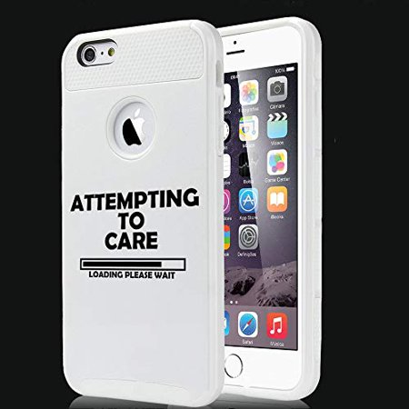 - Shockproof Impact Hard Soft Case Cover for Apple (iPhone 7 / iPhone 8) Attempting to Care Loading Please Wait Funny (White)