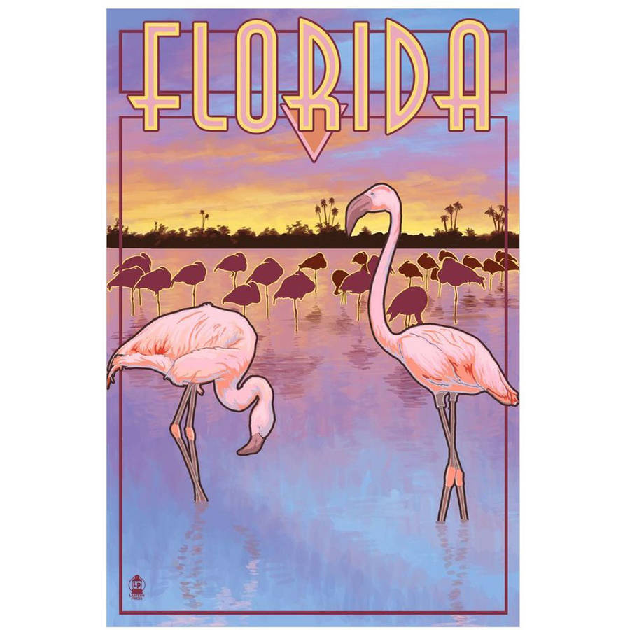 Flamingos - Florida: Retro Travel Poster by Eazl Cling