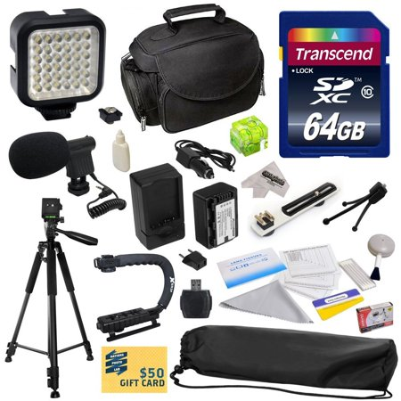 Advanced Kit for Panasonic SD40, SD60, SD80, SD90, SDX1, S45, S50, S70, M60, TM80, TM90, HS40 Camcorder with 64GB Memory Card, VW-VBK180 Battery, Charger, Carrying Case, Tripod, Action Handle and More ()