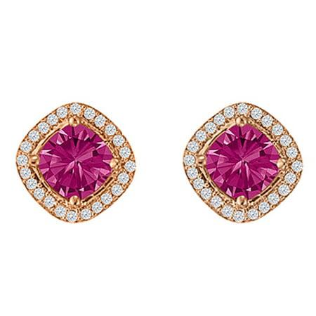 Jewelry Rhombus Design Pink Sapphire CZ Square Stud Earrings - image 1 de 2